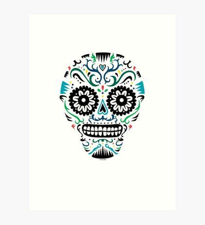 Sugar Skull SF multi om white Art Print