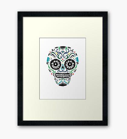 Sugar Skull SF multi om white Framed Print