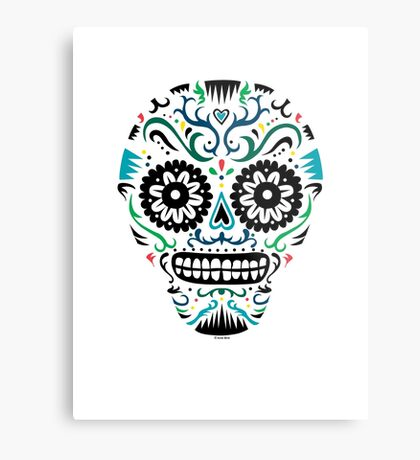 Sugar Skull SF multi om white Metal Print
