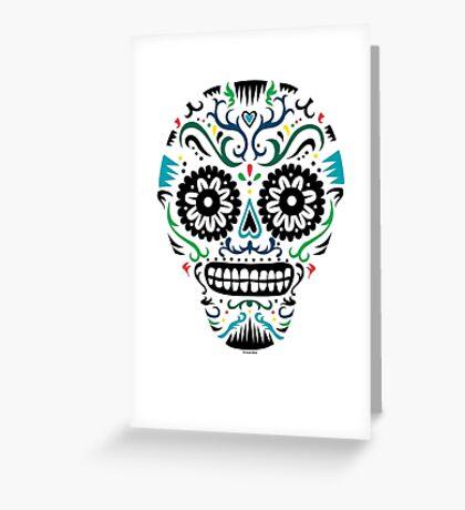 Sugar Skull SF multi om white Greeting Card