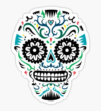 Sugar Skull SF multi om white Sticker
