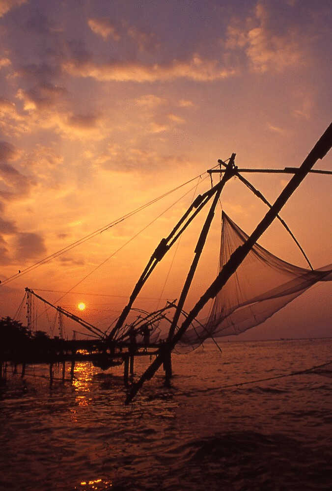 chinese fishing nets, Cochin India by JUSTINBOYD