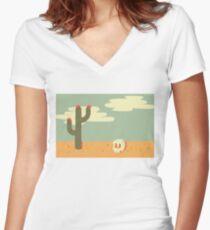 Desert Wasteland Women's Fitted V-Neck T-Shirt