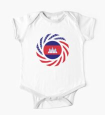 Cambodian American Multinational Patriot Flag Short Sleeve Baby One-Piece