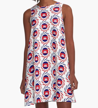 Cambodian American Multinational Patriot Flag A-Line Dress