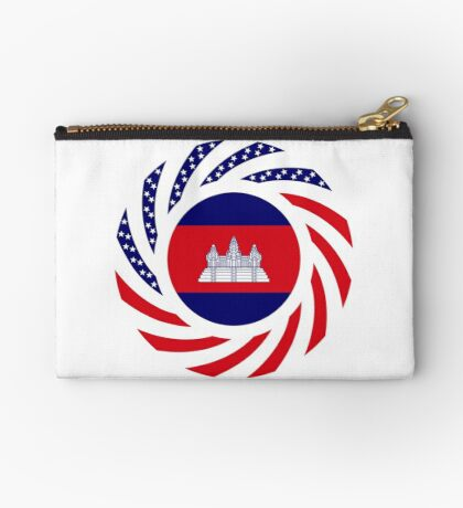 Cambodian American Multinational Patriot Flag Zipper Pouch