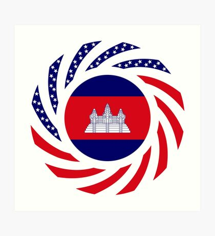 Cambodian American Multinational Patriot Flag Art Print