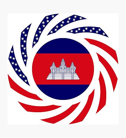 Cambodian American Multinational Patriot Flag Photographic Print