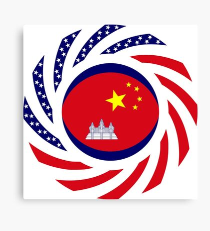 Chinese/Cambodian American Multinational Patriot Flag Series Canvas Print