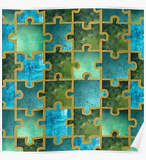 Puzzle greenblue Poster