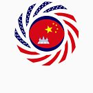 Chinese/Cambodian American Multinational Patriot Flag Series by Carbon-Fibre Media