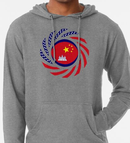 Chinese/Cambodian American Multinational Patriot Flag Series Lightweight Hoodie
