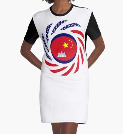 Chinese/Cambodian American Multinational Patriot Flag Series Graphic T-Shirt Dress