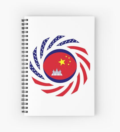 Chinese/Cambodian American Multinational Patriot Flag Series Spiral Notebook