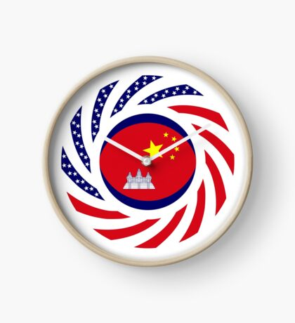 Chinese/Cambodian American Multinational Patriot Flag Series Clock