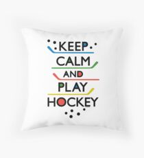 Keep Calm and Play Hockey - on white     Throw Pillow