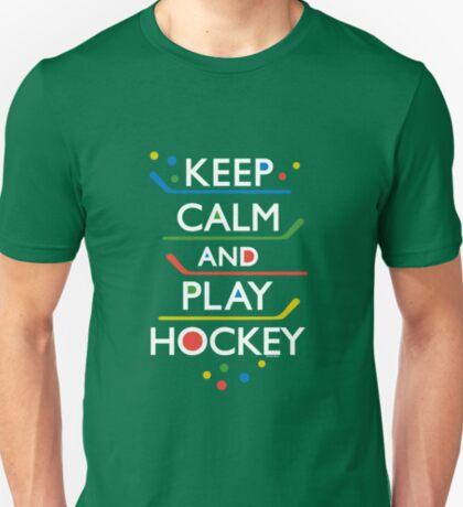 Keep Calm and Play Hockey - on dark   T-Shirt