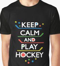 Keep Calm and Play Hockey - on dark   Graphic T-Shirt