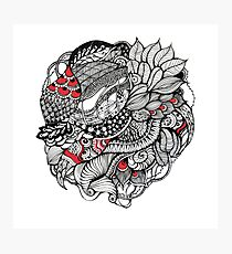 hand drawn fine line black and red fantasy   Photographic Print