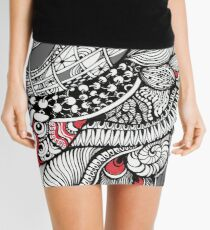 hand drawn fine line black and red fantasy   Mini Skirt