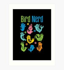 Bird Nerd - dark Art Print