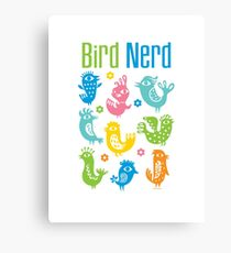 Bird Nerd - white Canvas Print