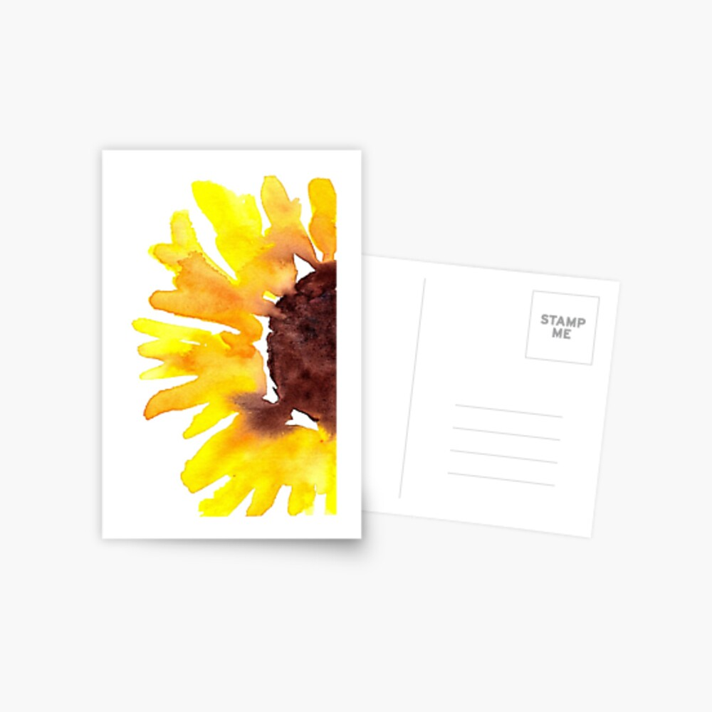 Watercolor Sunflower Postcard