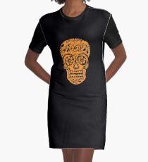 Sugar Skull SF Halloween on blk Graphic T-Shirt Dress