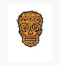 Sugar Skull SF Halloween on blk Photographic Print