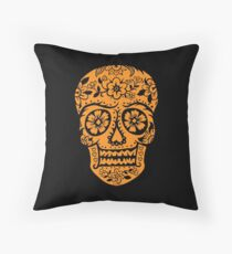 Sugar Skull SF Halloween on blk Throw Pillow