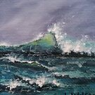 Stormy Wave, Grey and green sea painting by Laura Wilson