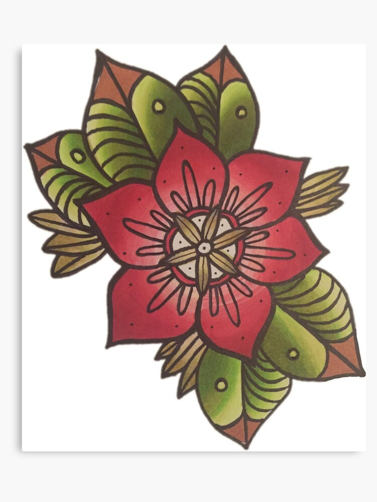 New School American Traditional Flower Tattoo Canvas Print By