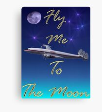 Fly Me To The Moon T-shirt Design Canvas Print