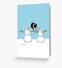 Winter Fun Border Collie Greeting Card
