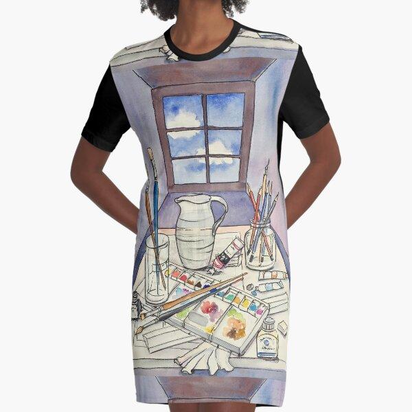 Window into Art Graphic T-Shirt Dress