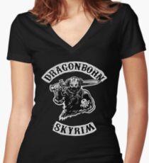 Skyrim - Dragonborn Women's Fitted V-Neck T-Shirt