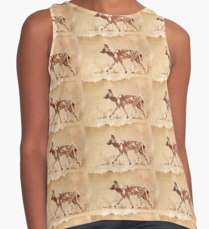 Painted Dog - African Wild Dog Sleeveless Top