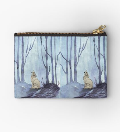 From silvery woods there comes a call - Log cabin décor  Zipper Pouch
