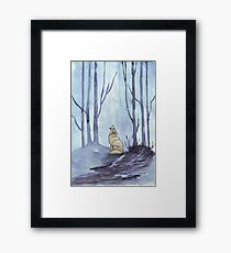 From silvery woods there comes a call - Log cabin décor  Framed Print