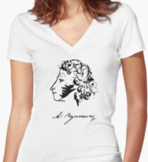 Pushkin - Self Portrait Women's Fitted V-Neck T-Shirt