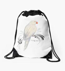 White Indian Ringneck Parrot Drawstring Bag