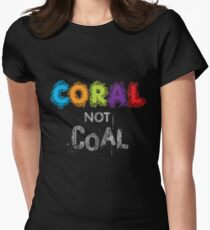 Coral Not Coal - White on Black Women's Fitted T-Shirt