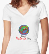 WORLD MALARIA DAY Women's Fitted V-Neck T-Shirt