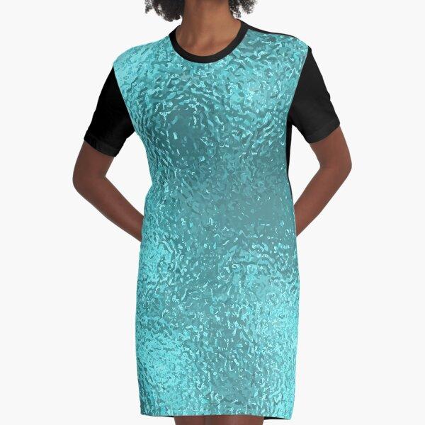 Blue Foil Paper Graphic T-Shirt Dress