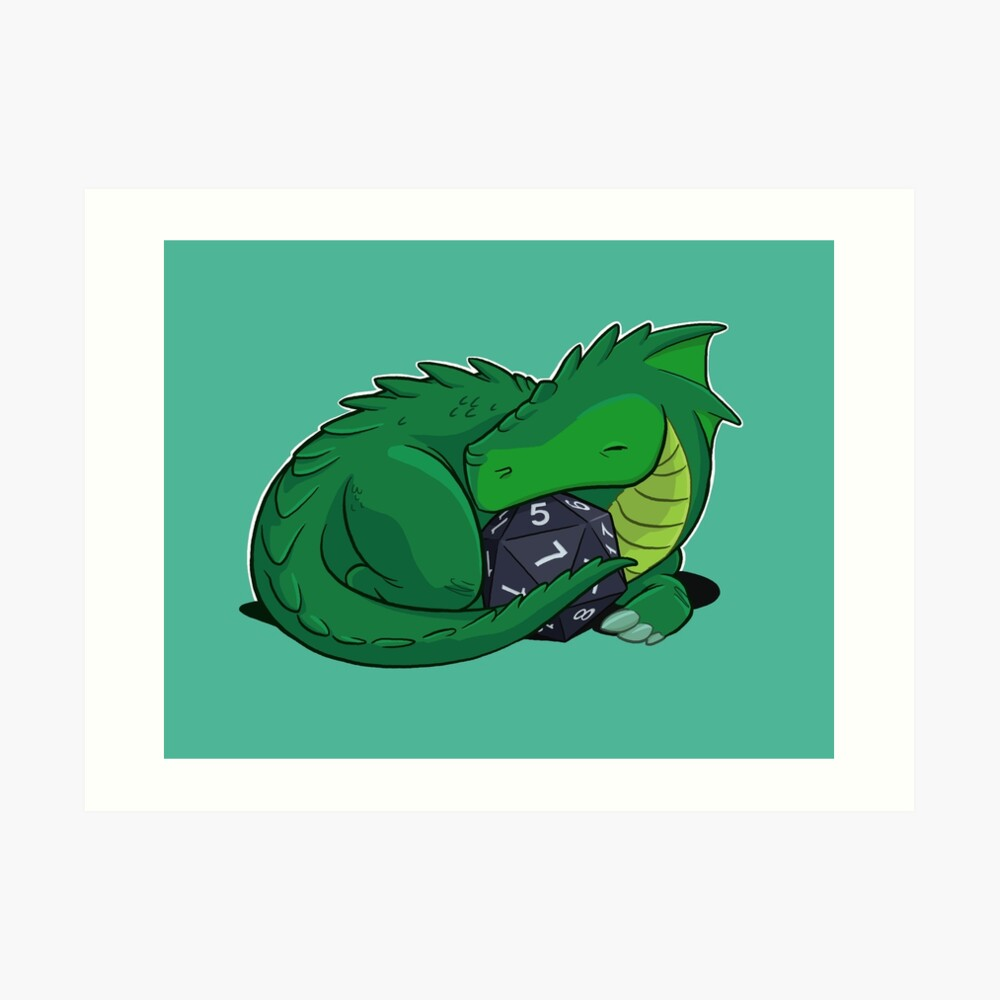 D20 Green Dragon Art Print