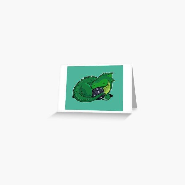 D20 Green Dragon Greeting Card