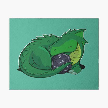 D20 Green Dragon Art Board Print