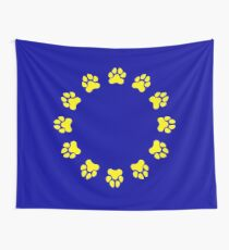 EU Pup Paw Pride Flag Wall Tapestry