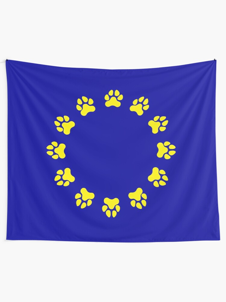 Alternate view of EU Pup Paw Pride Flag Tapestry