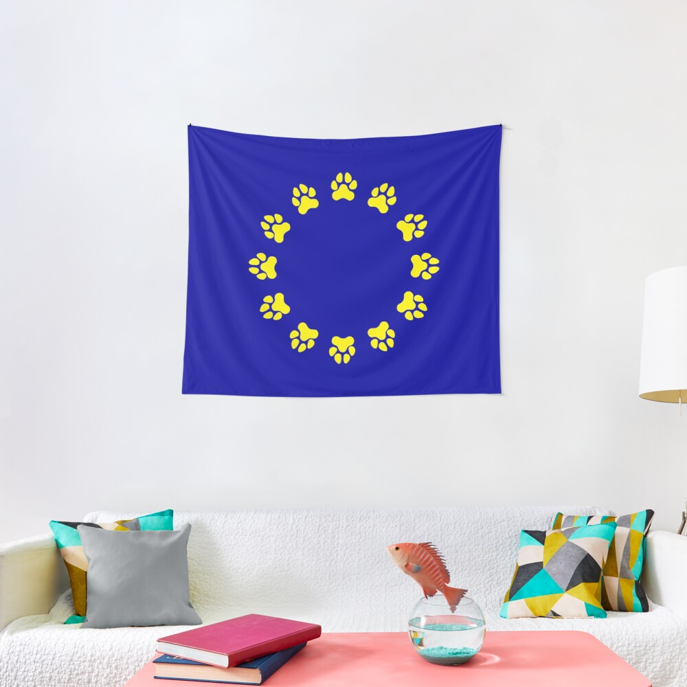 EU Pup Paw Pride Flag Tapestry